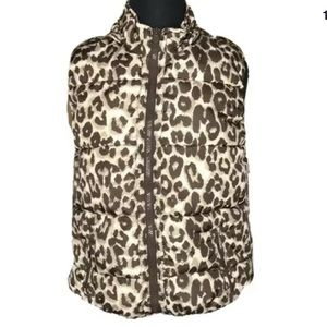 Justice Girls puffer vest size 16 leopard print